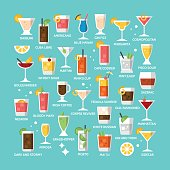 Cocktail alcohol mixed drink icons for menu, web and graphic