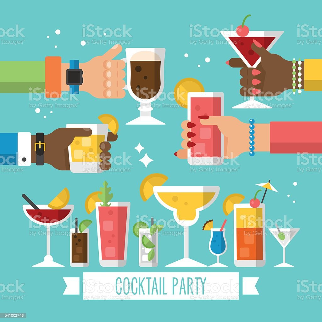 Cocktail alcohol party concept for web and graphic design. Hands vector art illustration