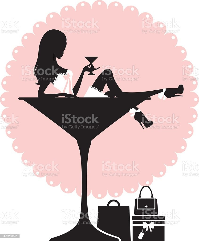 Cocktail and Shopping Girl vector art illustration
