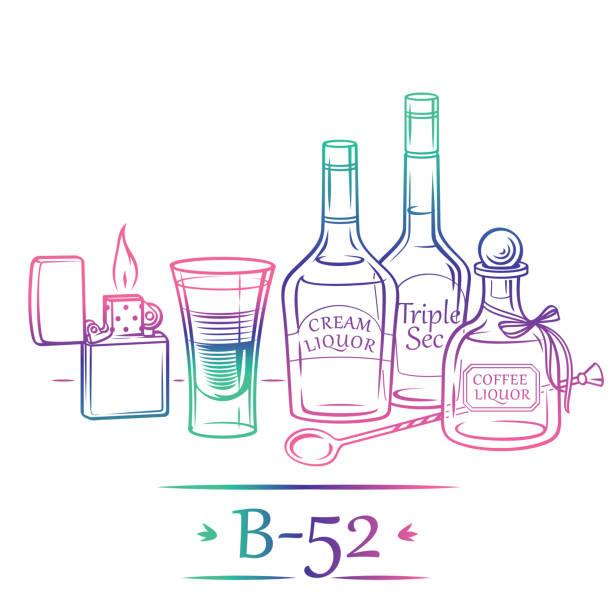 Cocktail B-52 mit Zutaten (Cremelikör, Kaffeelikör, Triple Sec) und Barmanninstrumenten – Vektorgrafik