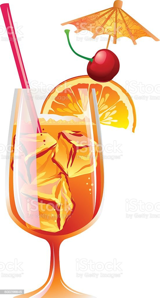 Bahama Mama Cocktail avec de la glace et de la garniture - Illustration vectorielle