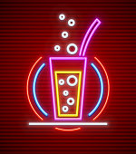 Cocktail bar neon sign glass with drink