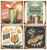 Cocktail bar retro tin sign set. Vector poster templates collection for summer party, bar or restaurant. Cocktail lounge vintage background drawings. Drink and food theme with rusty metal texture.