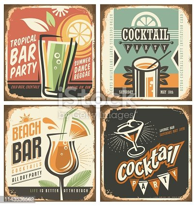 Cocktail bar retro tin sign set