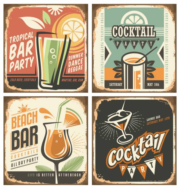 Cocktail bar retro tin sign set Cocktail bar retro tin sign set. Vector poster templates collection for summer party, bar or restaurant. Cocktail lounge vintage background drawings. Drink and food theme with rusty metal texture. margarita stock illustrations