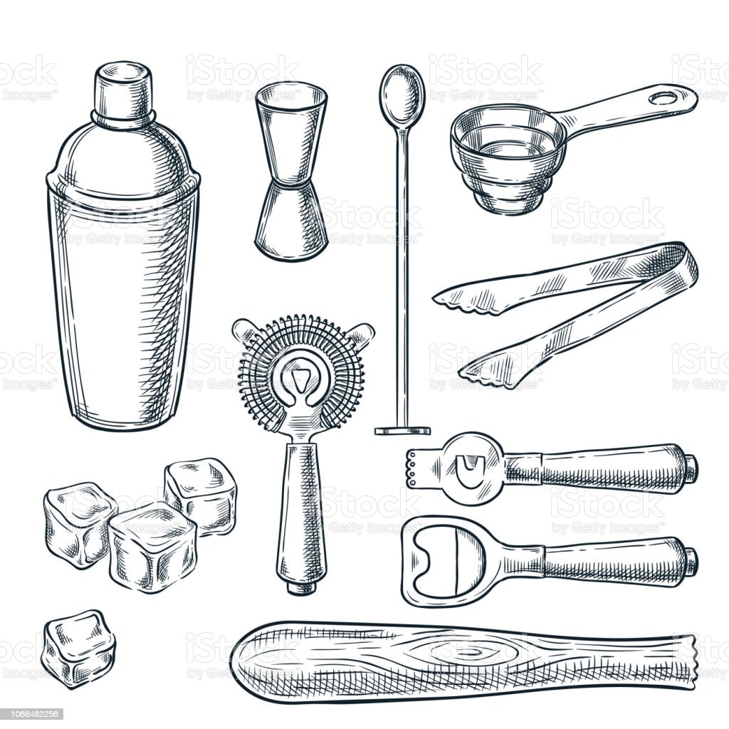 Cocktail bar tools and equipment vector sketch illustration. Hand drawn icons and design elements for bartender work vector art illustration