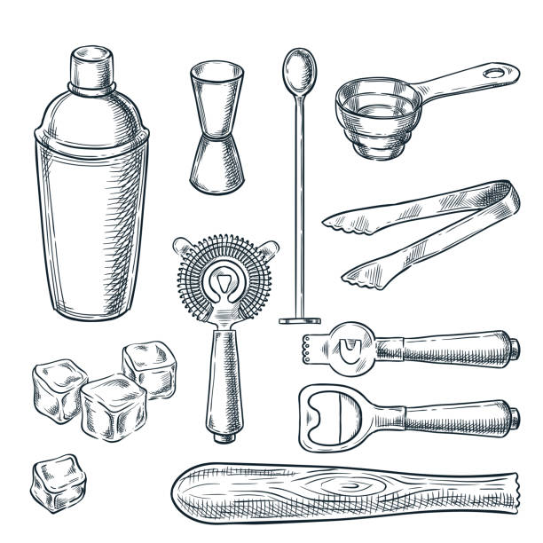 cocktail bar tools and equipment vector sketch illustration. hand drawn icons and design elements for bartender work - bartender stock illustrations