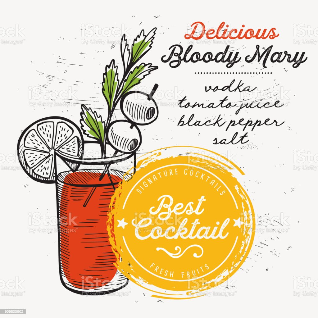 Cocktail bloody mary for bar menu. Vector drink flyer for restaurant and cafe. Design poster with vintage hand-drawn illustrations. vector art illustration