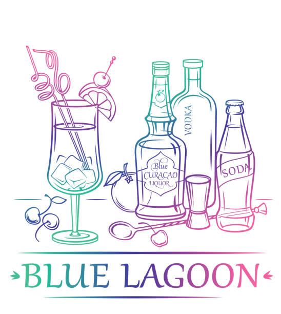 Cocktail Blue Lagoon mit Zutaten (Wodka, Blue Curacao Likör, Soda, Orange, Kirsche) und Barmann-Instrumenten. – Vektorgrafik