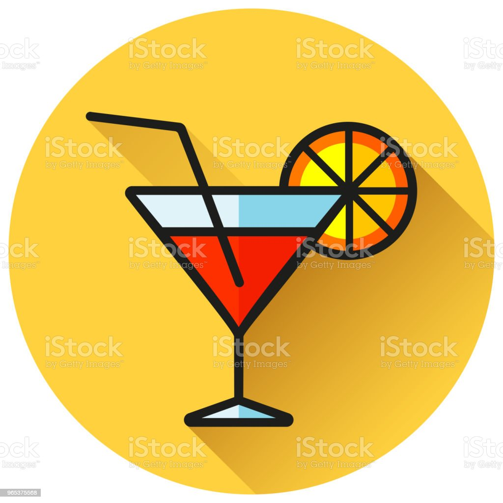 cocktail circle yellow flat icon royalty-free cocktail circle yellow flat icon stock vector art & more images of alcohol