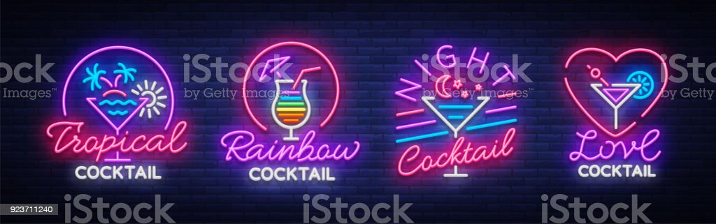 Cocktail Collection Logos In Neon Style Collection Of Neon Signs