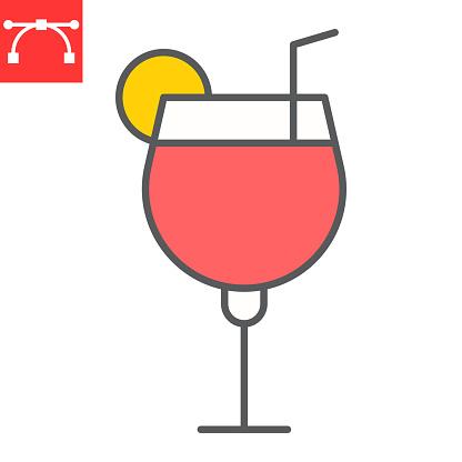 Cocktail color line icon