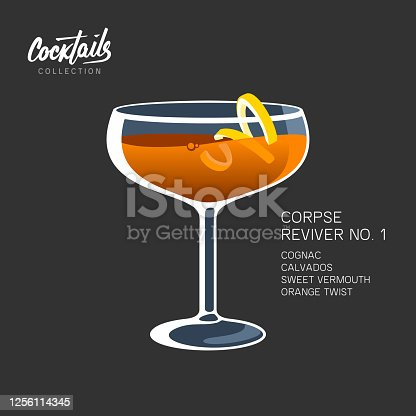Cocktail Corpse Reviver No. 1 on black background. Alcoholic drink with orange twist vector illustration