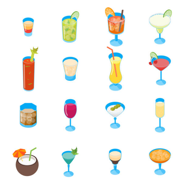 illustrations, cliparts, dessins animés et icônes de cocktail de 3d icons set vue isométrique. vector - mojito champagne