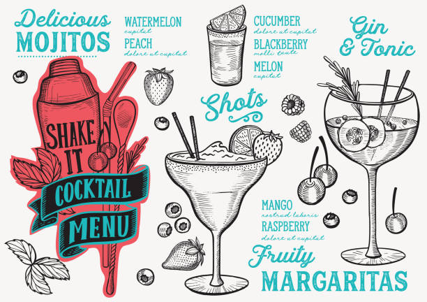 Cocktail drink menu template for restaurant with doodle hand-drawn graphic. Cocktail menu template for restaurant vector illustration brochure for food and drink bar. Design layout with vintage lettering and doodle hand-drawn graphic icons. tonic water stock illustrations