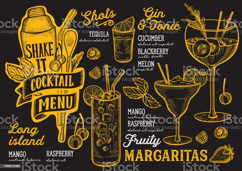 cocktail drink menu template for restaurant with doodle handdrawn