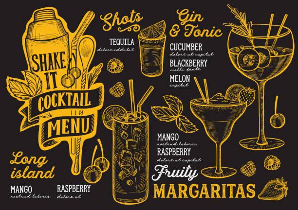 レストランでカクテルを飲むメニュー テンプレートは、手描きのグラフィックを落書き。 - ランチョンマット点のイラスト素材/クリップアート素材/マンガ素材/アイコン素材