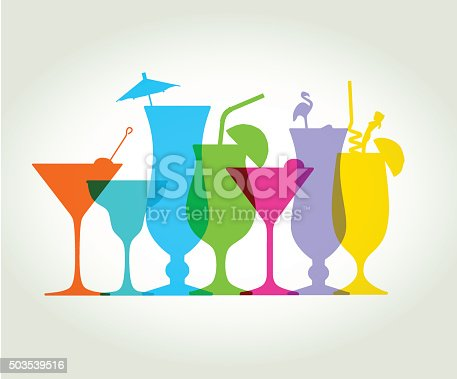 Colourful overlapping silhouettes of Cocktail drinks. EPS10, file best in RGB, CS5 versions in zip