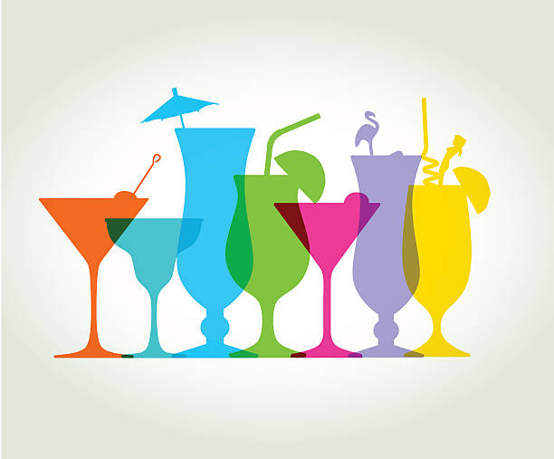 cocktail drinks - alcohol drink silhouettes stock illustrations