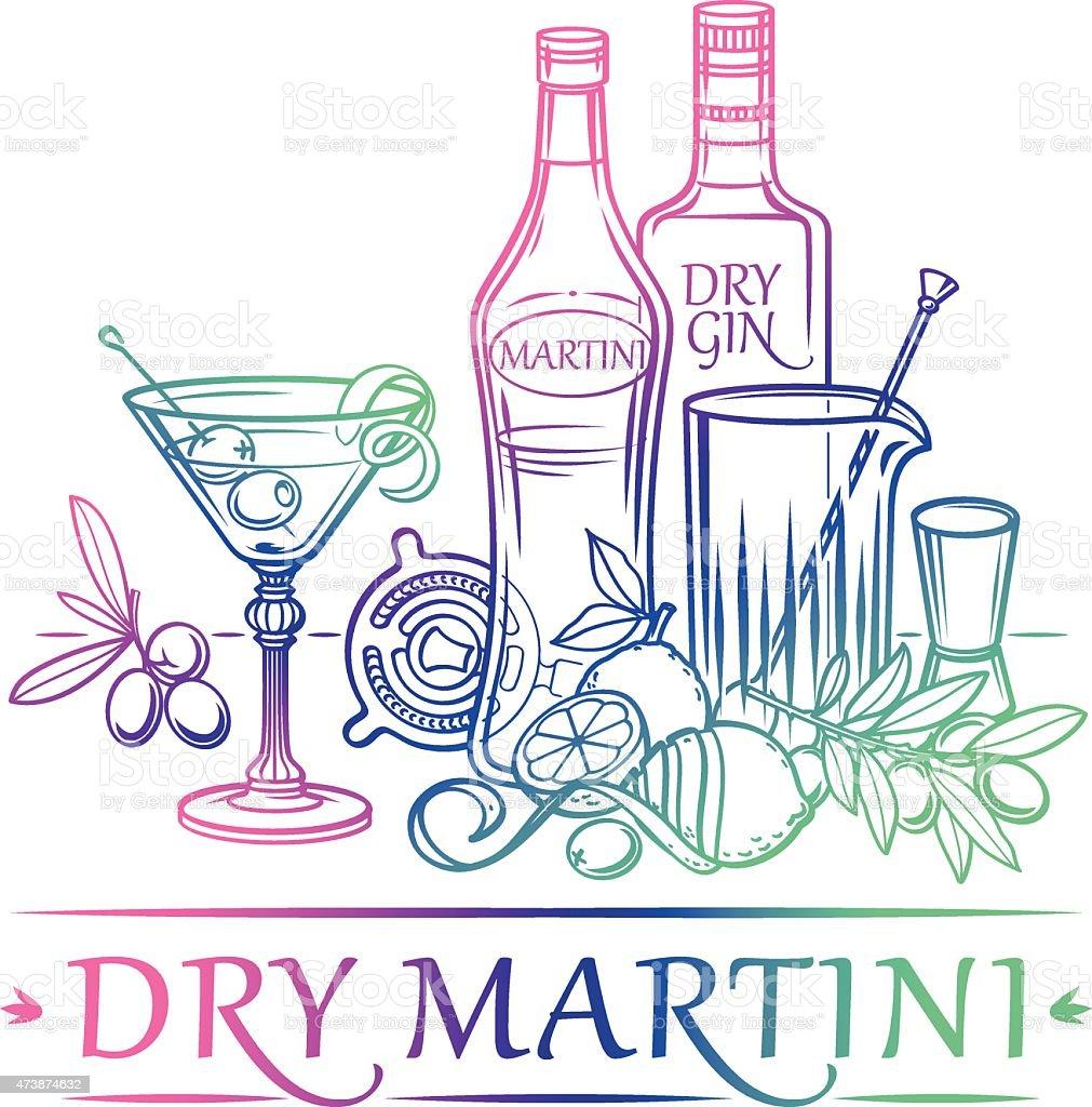Cocktail-Dry Martini – Vektorgrafik