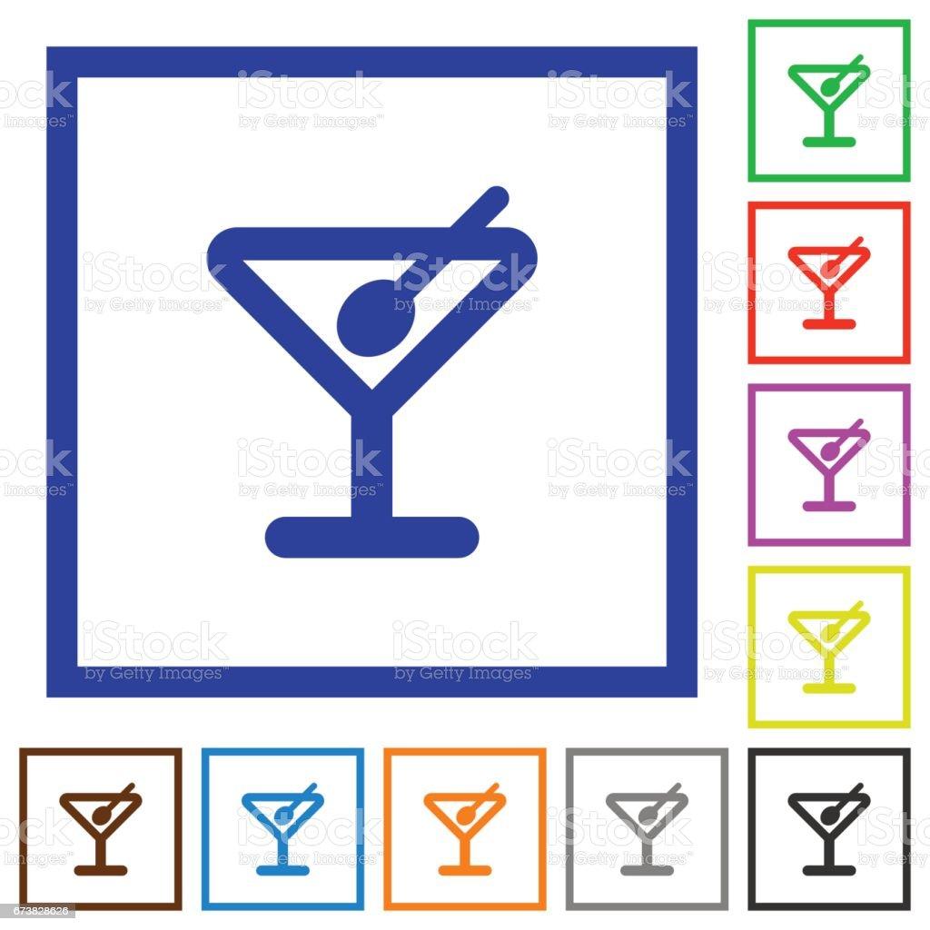 Cocktail framed flat icons cocktail framed flat icons – cliparts vectoriels et plus d'images de alcool libre de droits