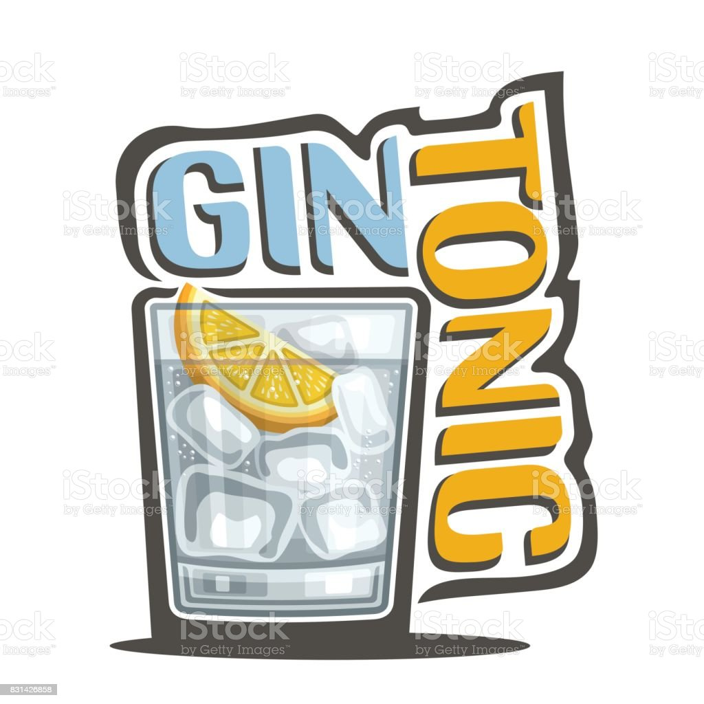 Gin tonique Cocktail - Illustration vectorielle
