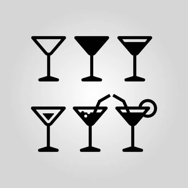 Cocktail glass flat icon set Cocktail glass vector icon set suitable for info graphics, websites and print media. Black flat line icons martini glass stock illustrations