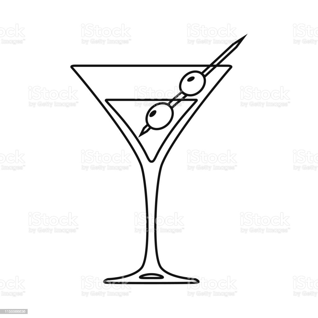 Cocktail glass line art design on white background. Vector...