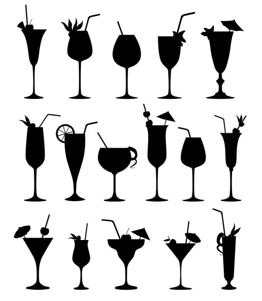 illustrazioni stock, clip art, cartoni animati e icone di tendenza di cocktail glass silhouette set. cocktail party drinks icons. - aperitivo