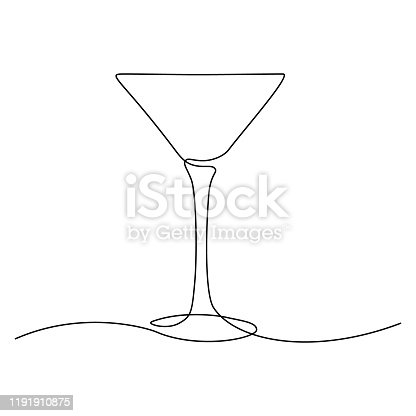 Cocktail glass in continuous line art drawing style. Minimalist black line sketch on white background. Vector illustration