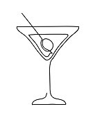 Cocktail glass with martini and olive. Wineglass outline silhouette isolated on white background. Continuous line art drawing style. Hand drawn vector illustration