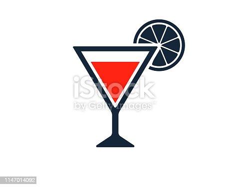 cocktail glass with Vodka Martini and lemon or orange garnish