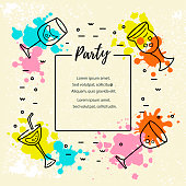 Vector illustration with cocktail glasses and paint splashes. Template for bar menu, party, alcohol drinks, holidays, flyer, brochure, poster, banner. Flat and outline style.
