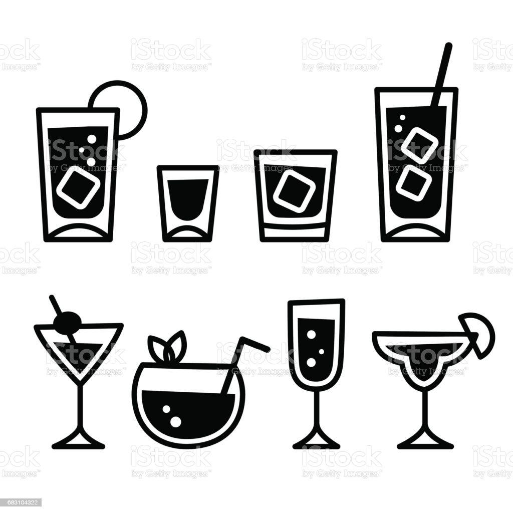 Cocktail glasses icon set - illustrazione arte vettoriale