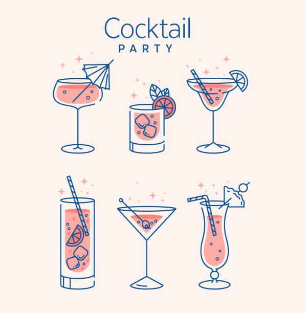 коктейль очки минимальный вектор тонкой линии иллюстрации. шесть освежающих коктейлей с кубиками льда и лимонами. вечеринка в клубе. созда� - напиток stock illustrations