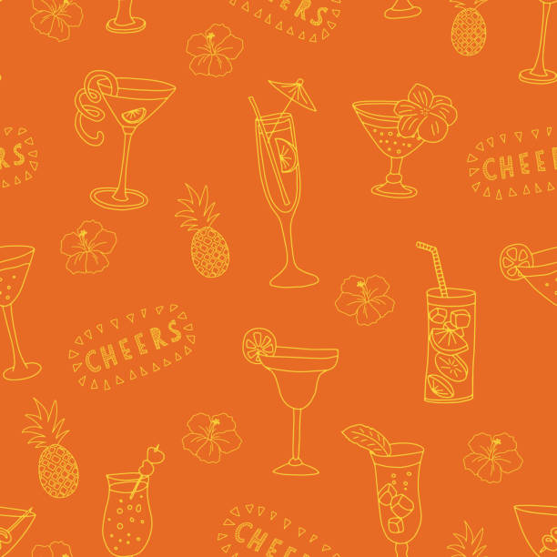 Cocktail glasses seamless vector pattern. Yellow drinking glasses on an orange background with Cheers lettering, pineapples, and hibiscus flowers. Great for backgrounds, restaurant and bar menu, bar vector art illustration