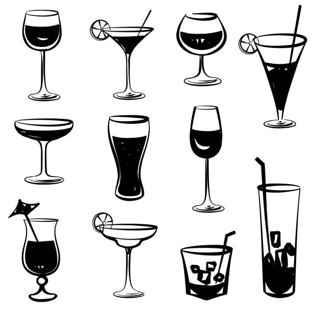 Cocktail glasses set. Black and white engraved party symbols Collection of cocktails isolated on white. Hand drawn illustration martini glass stock illustrations