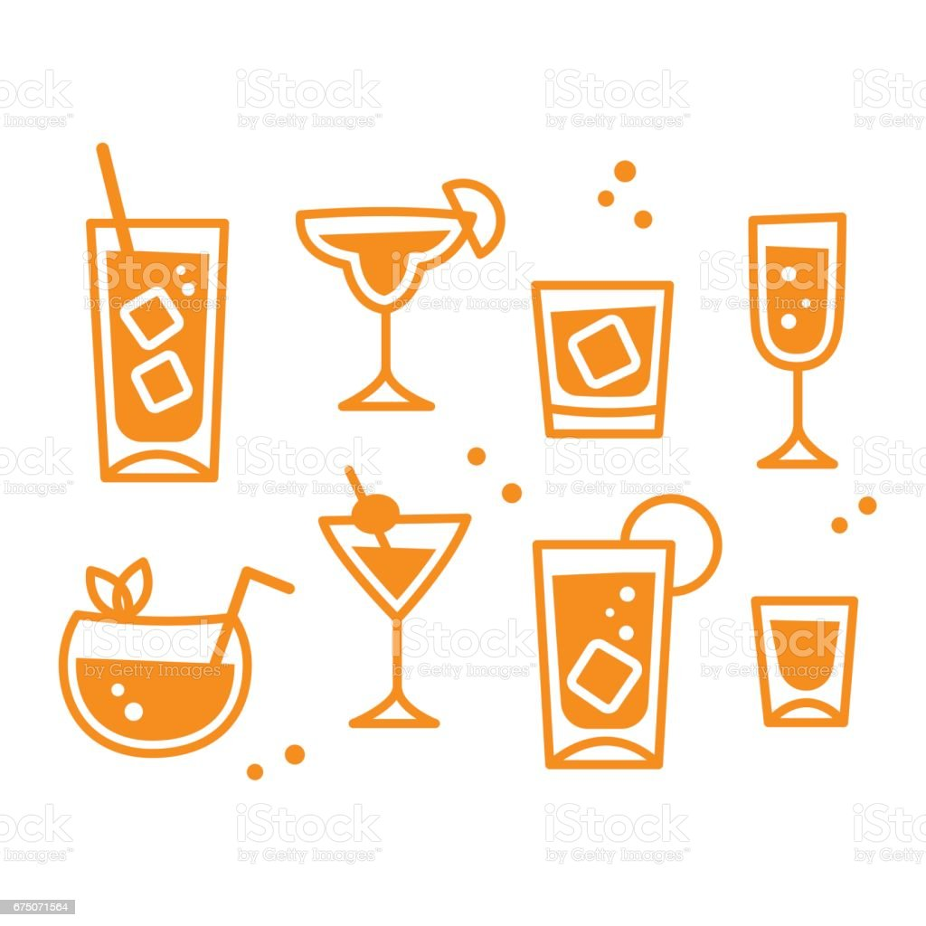 Cocktail glasses set vector art illustration