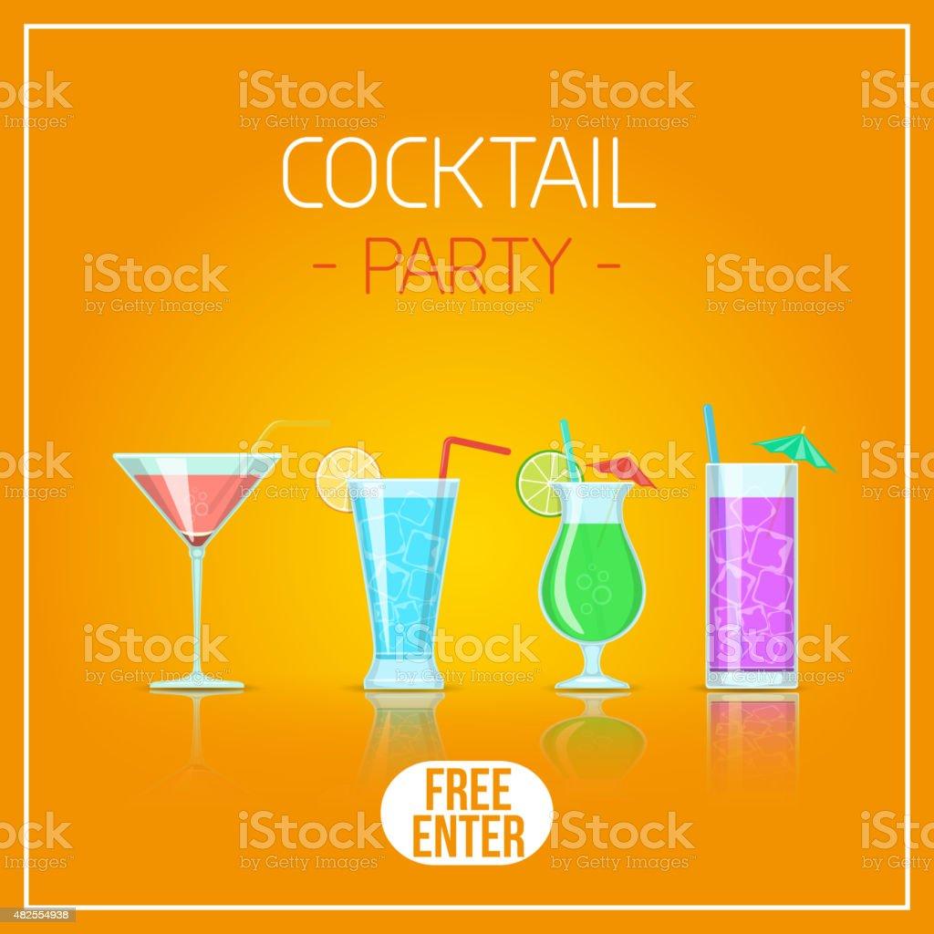 Cocktail glasses. vector art illustration