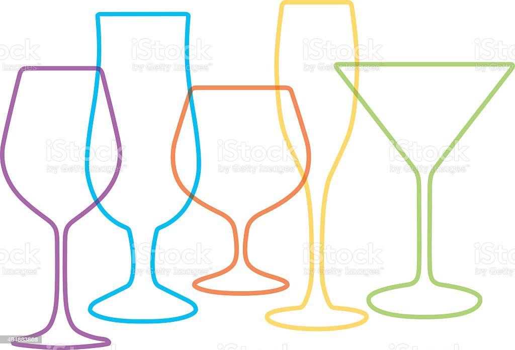 Cocktail Glasses vector art illustration