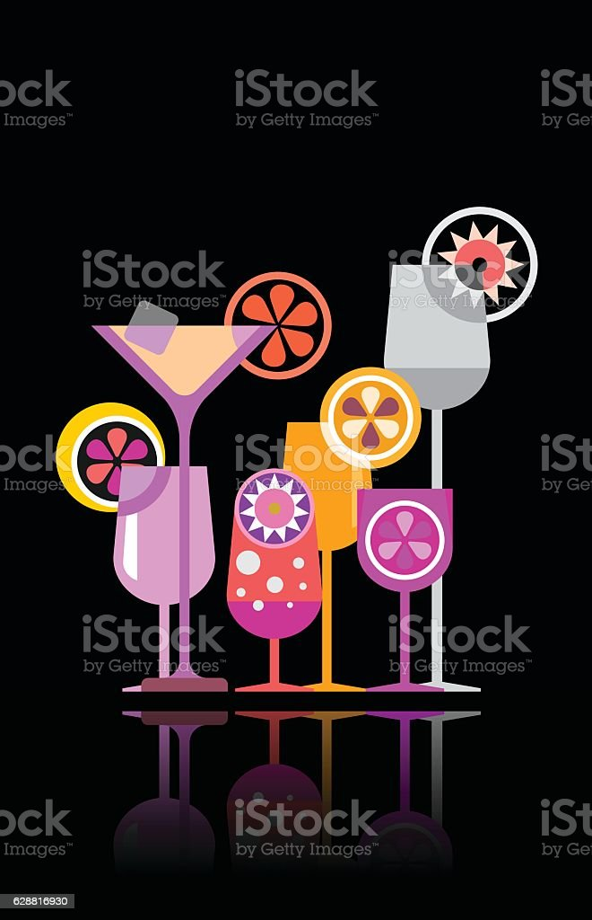 Cocktail glasses vector illustration vector art illustration