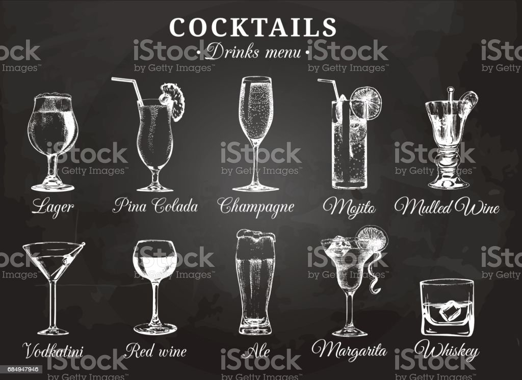 Cocktail glasses vector illustrations for drink menu. Hand drawn sketches set of alcoholic beverages: beer, pina colada, mojito, margarita, vodkatini, champagne, mulled wine, red wine, whiskey etc. vector art illustration