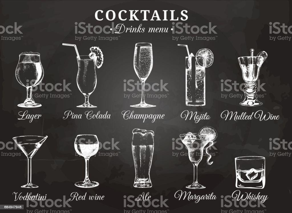 Óculos cocktails vetor ilustrações para menu de bebidas. Mão esboços desenhados conjunto de bebidas alcoólicas: cerveja, pina colada, mojito, margarita, vodkatini, champanhe, vinho quente, vinho tinto, uísque, etc. - ilustração de arte em vetor