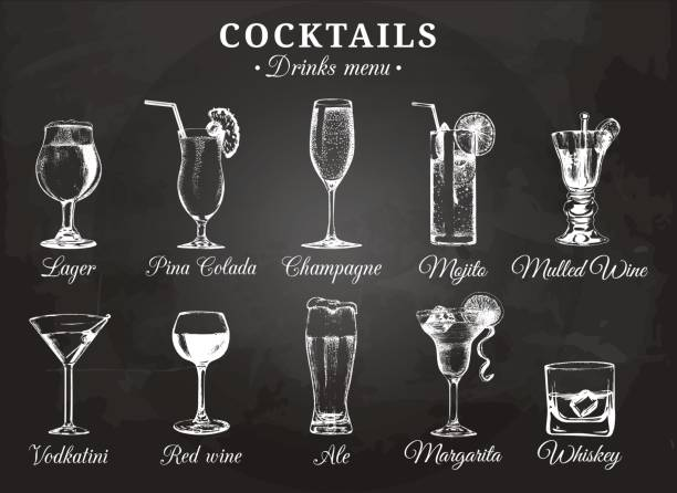 illustrations, cliparts, dessins animés et icônes de verres à cocktail vector illustrations pour menu de boissons. main de croquis dessiné ensemble de boissons alcoolisées : bière, pina colada, mojito, margarita, vodkatini, champagne, vin chaud, vin rouge, whisky, etc.. - mojito champagne