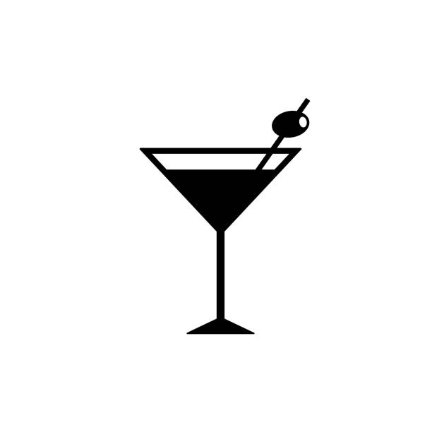 Cocktail icon isolated on white background Cocktail icon isolated on white background martini stock illustrations