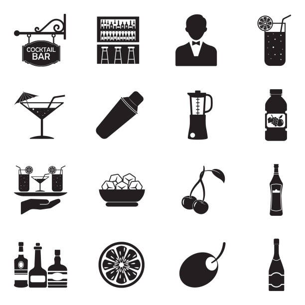 Cocktail Icons. Black Flat Design. Vector Illustration. vector art illustration