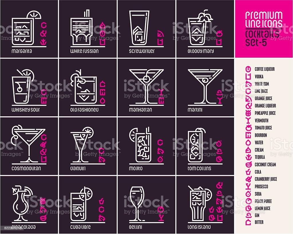 cocktail icons on black background vector art illustration