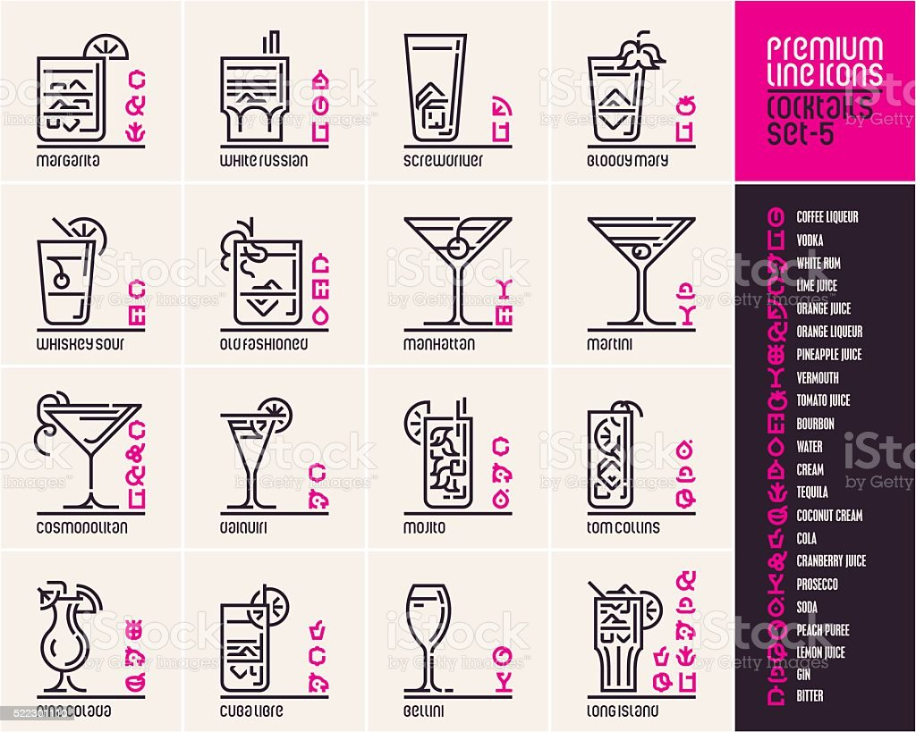 Cocktail icons, top cocktails line icons set vector art illustration