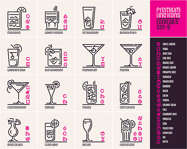 Cocktail icons, top cocktails line icons set Cocktail icons, top cocktails set line icons, cocktail ingredients pictograms, drinks vector icons, beverages, alcohol, cocktails infographic, food and drinks signs and symbols screwdriver drink stock illustrations