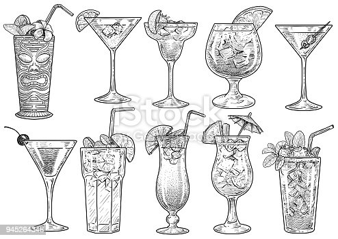 istock Cocktail illustration, drawing, engraving, ink, line art, vector 945264346